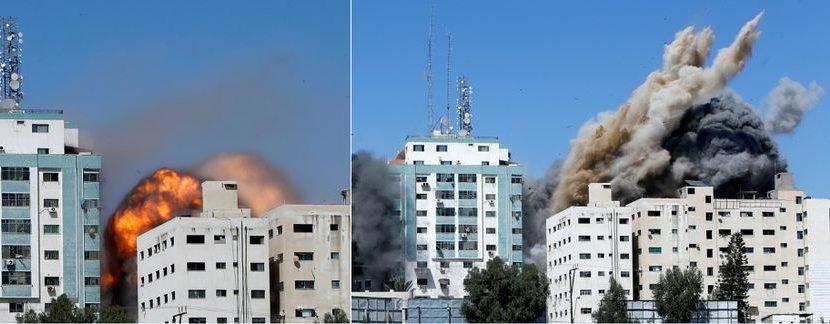 इजरायली हवाई आक्रमणबाट गाजास्थित अलजजीराको कार्यालय भएको भवन ध्वस्त